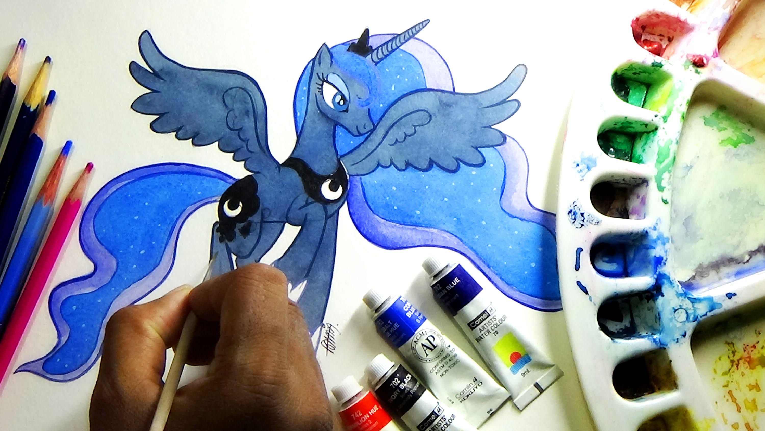 Drawn my little pony water Pony colors Luna YouTube water
