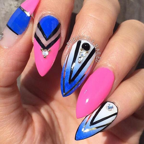Drawn nail blue Art Design inspired of Ideas