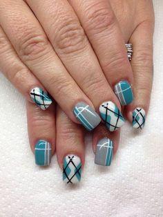 Drawn nail blue Nail AlysNails Got Plaid Blues