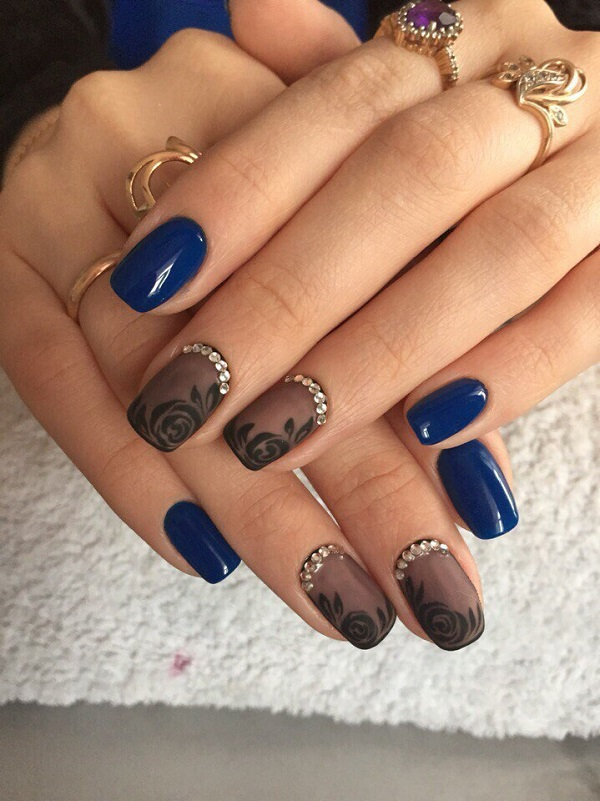 Drawn nail blue Design Ideas Rose Art Art