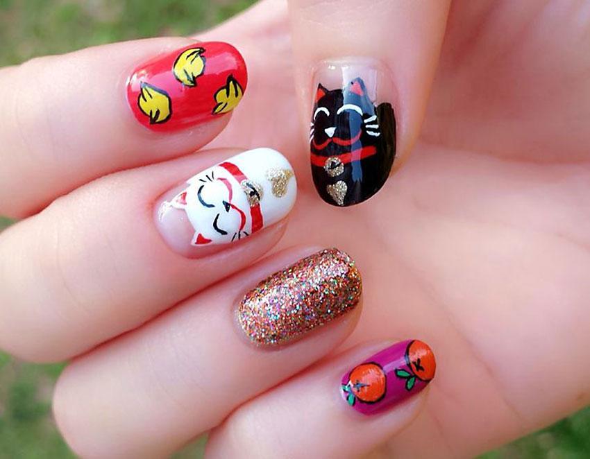 Drawn nail cat Nail nails Art cat fortune
