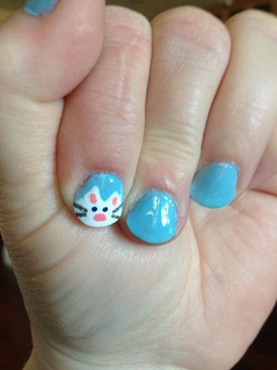 Drawn nail cat Pastel on Kitty Kitty Nail