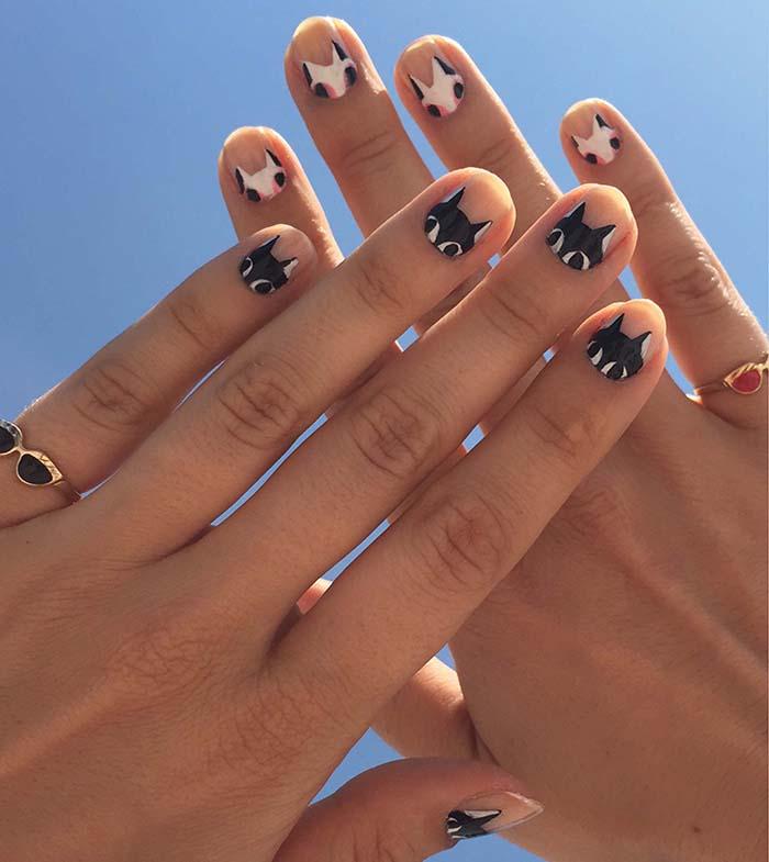 Drawn nail cat Cat Painted Nails 8 opt2