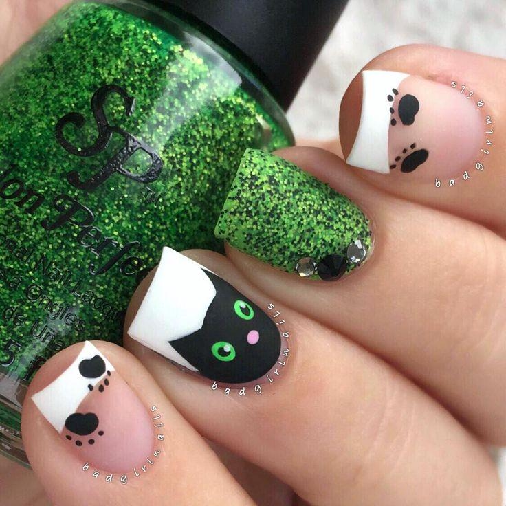 Drawn nail cat Art ideas Nail salon on