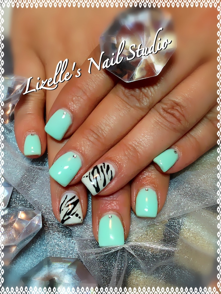 Drawn nail funky Zebra white Mint Best each