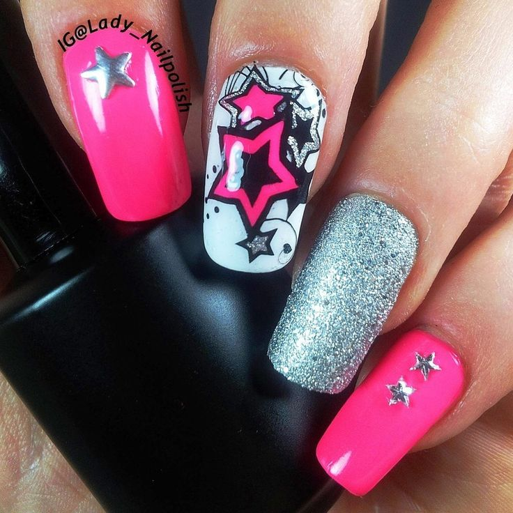 Drawn nail funky Stars Neon Art SUMMER 2963