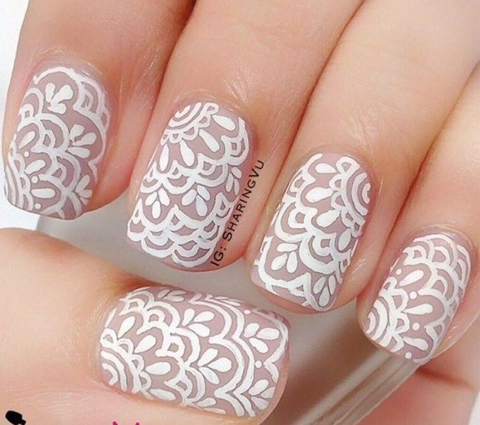 Drawn nail lace Art Art Trendy on Fashion