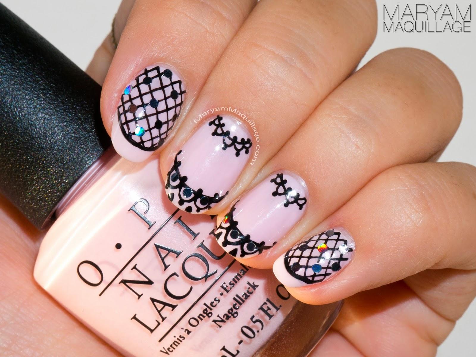 Drawn nail lace Black Nail Maquillage Design art