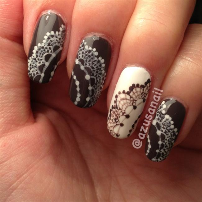 Drawn nail lace Nail painted Art hand Gallery