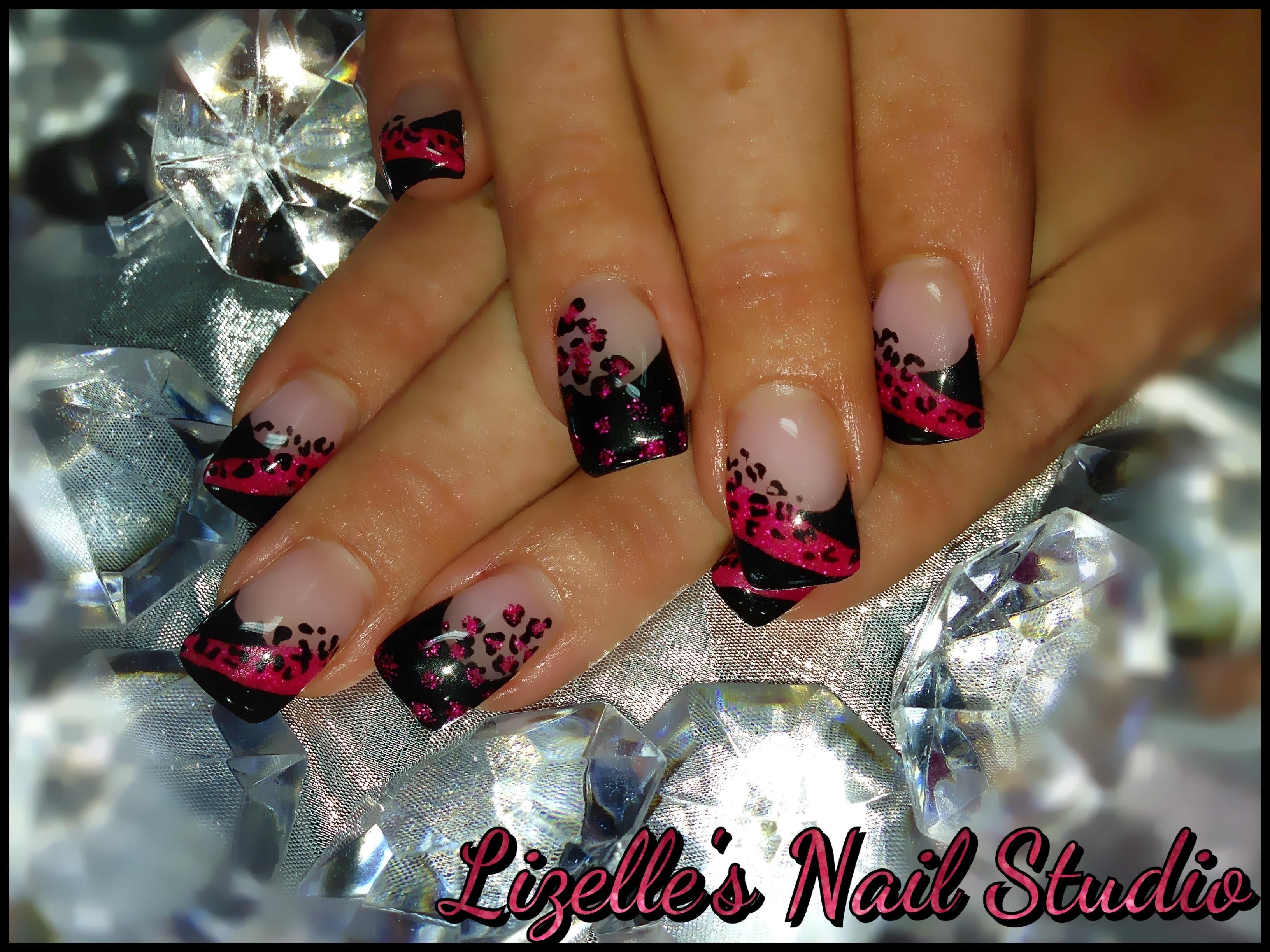 Drawn nail leopard Nail Black print painted painted