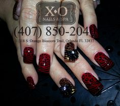 Drawn nail leopard COMPLETELY Zebra RED NAIL PAINTED/DRAWN