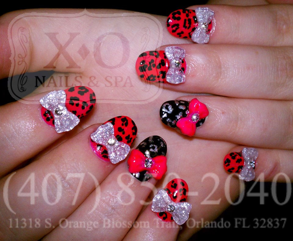 Drawn nail leopard Nail Design(With Bows) 3D PAINTED/DRAWN