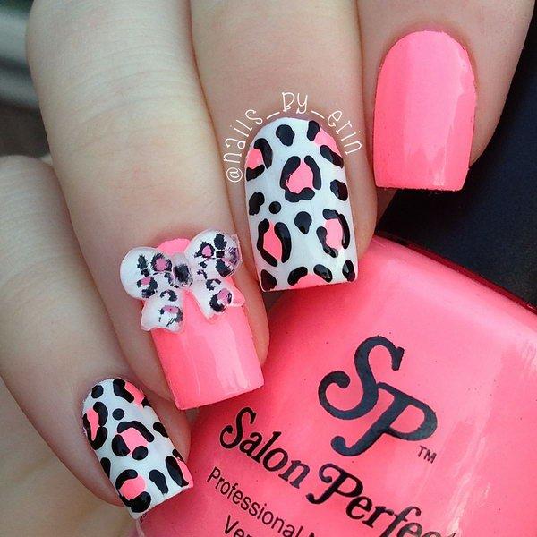 Drawn nail leopard Pink Ideas a white notch