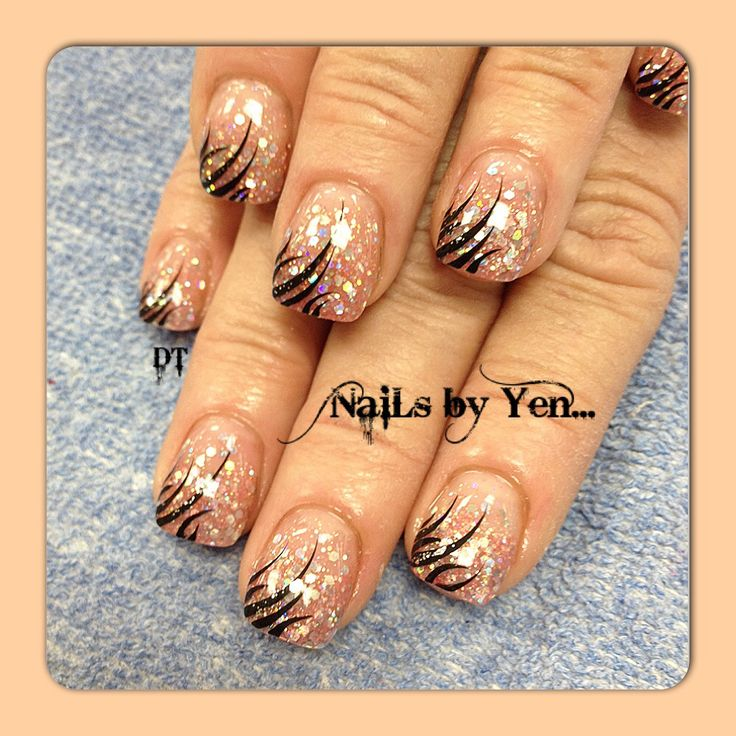 Drawn nail neutral Art large sparkle Neutral with