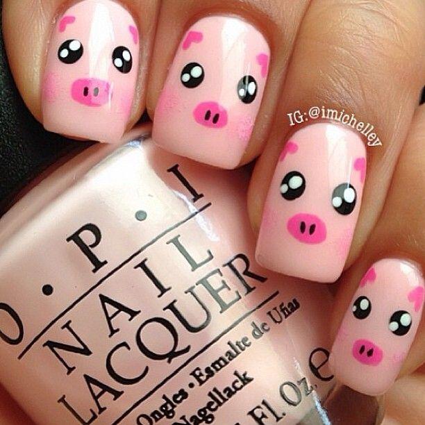 Drawn nail pig Pig cute nails! super best