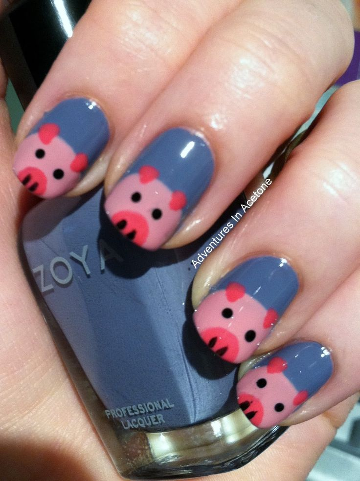 Drawn nail pig Images Acetone: In Piggy on