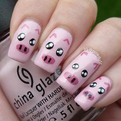 Drawn nail pig ART by photo pinkdu5t machine