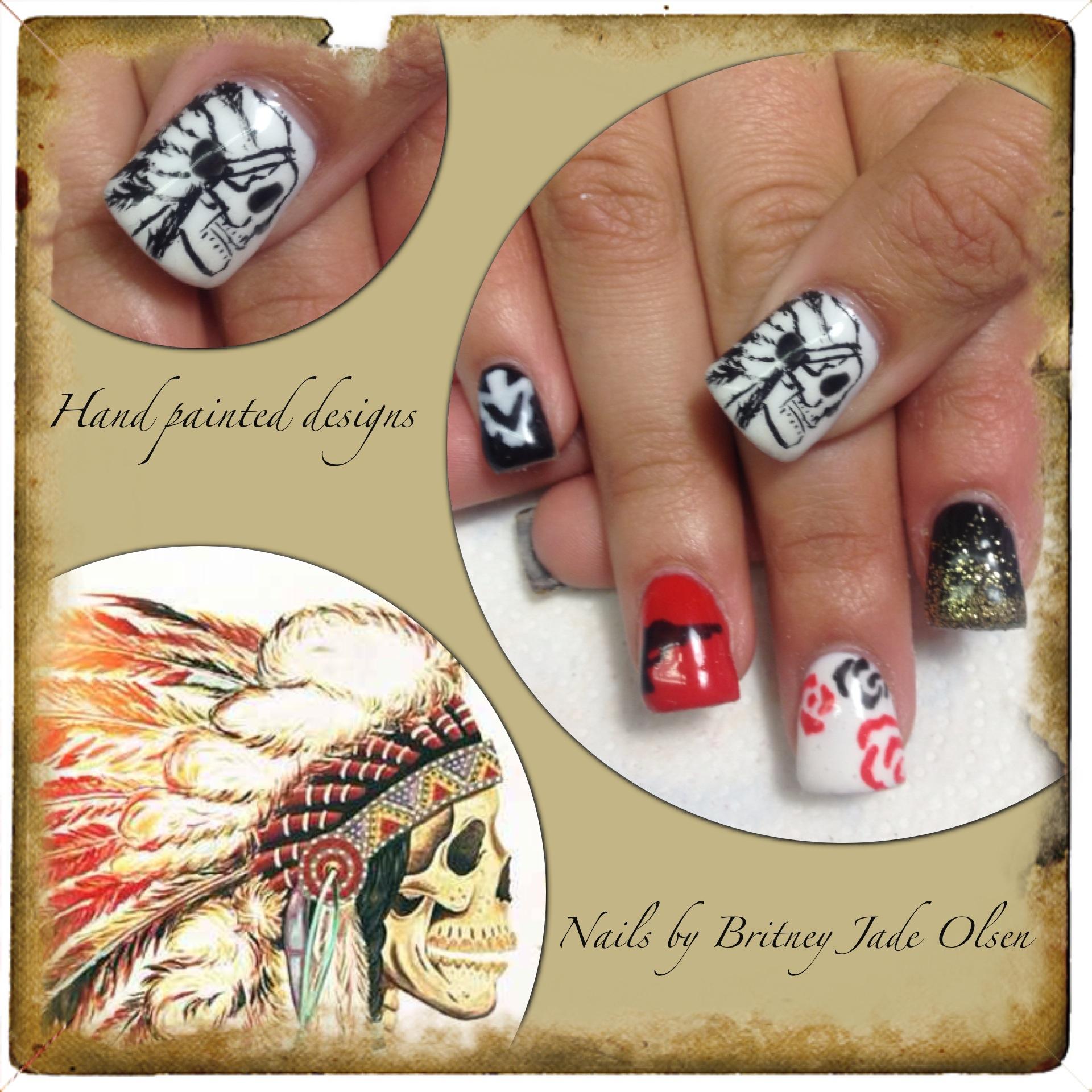 Drawn nail pinterest Hand painted american Nails theme