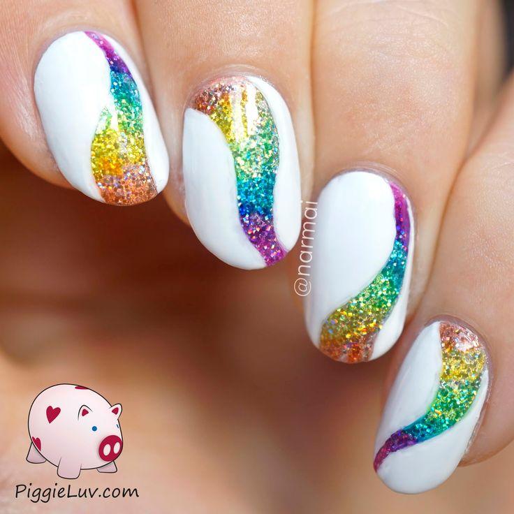 Drawn nail pinterest Nail art Rainbow nail