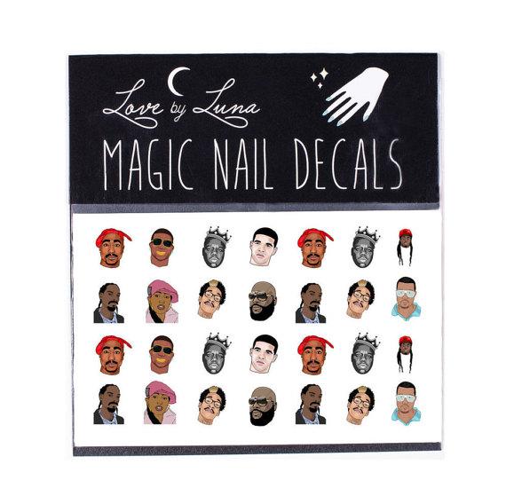 Drawn nail rapper Tupac Hop Decals / Nail