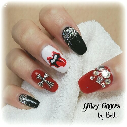 Drawn nail red Art + Studded + Hand