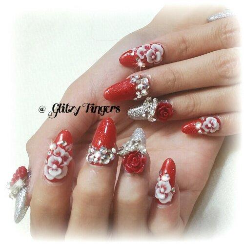 Drawn nail red Nails + day + Nail