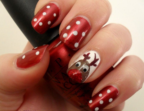 Drawn nail red This cute Christmas out white