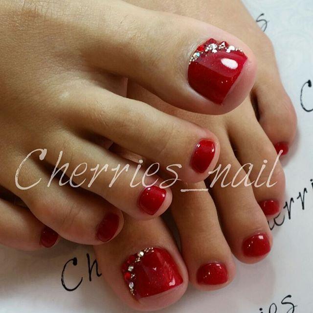 Drawn nail red Pinterest Simple pedicure Rhinestone Best
