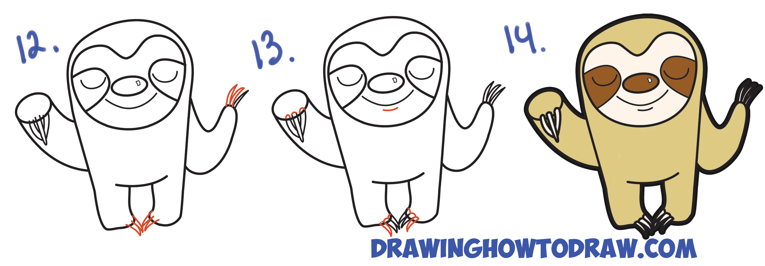 Drawn sloth white background To Drawing Steps Cute Cute