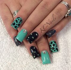 Drawn nail solid Black painted and Black teal