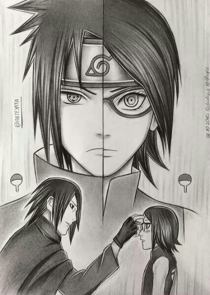 Drawn amd sasuke uchiha #PaiEFilha e Uchiha Sarada From