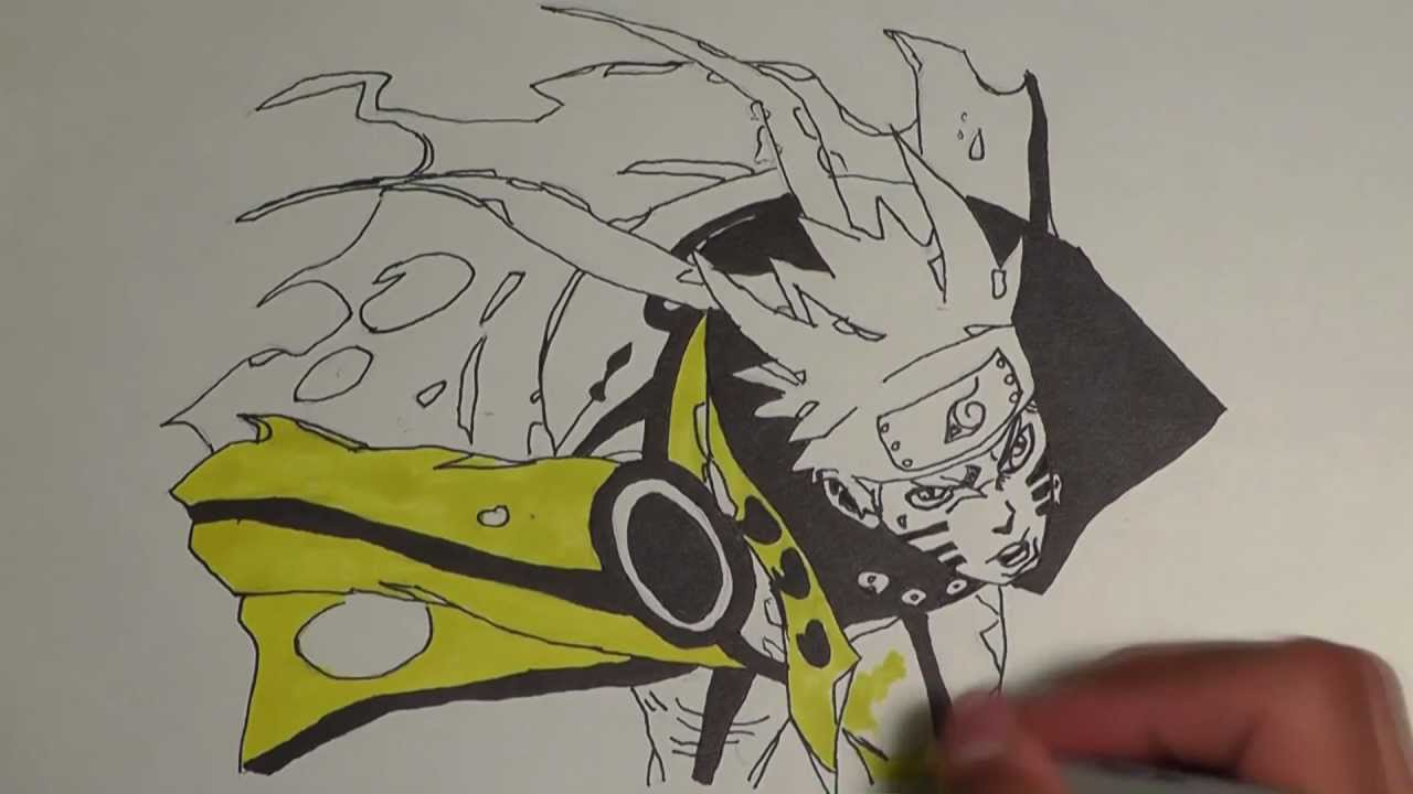 Drawn naruto bijuu Naruto Naruto drawing Bijuu Mode
