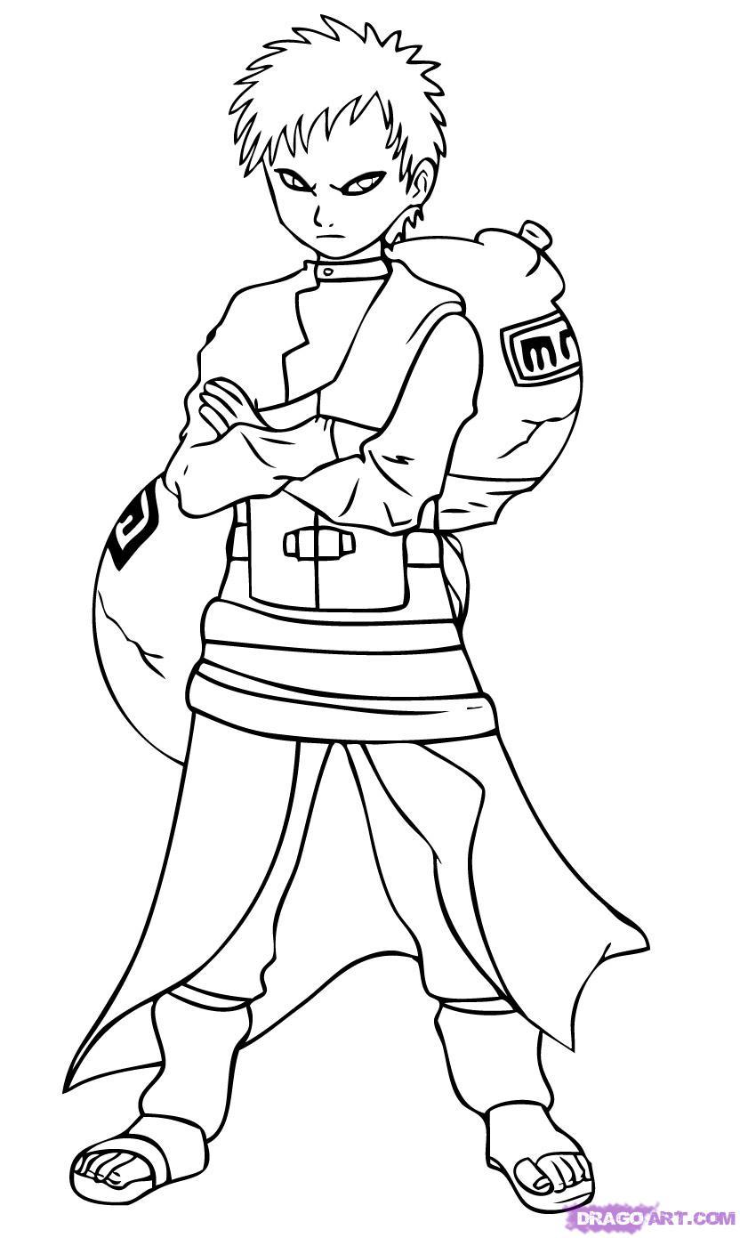 Drawn naruto dragoart Gaara 8 Naruto step
