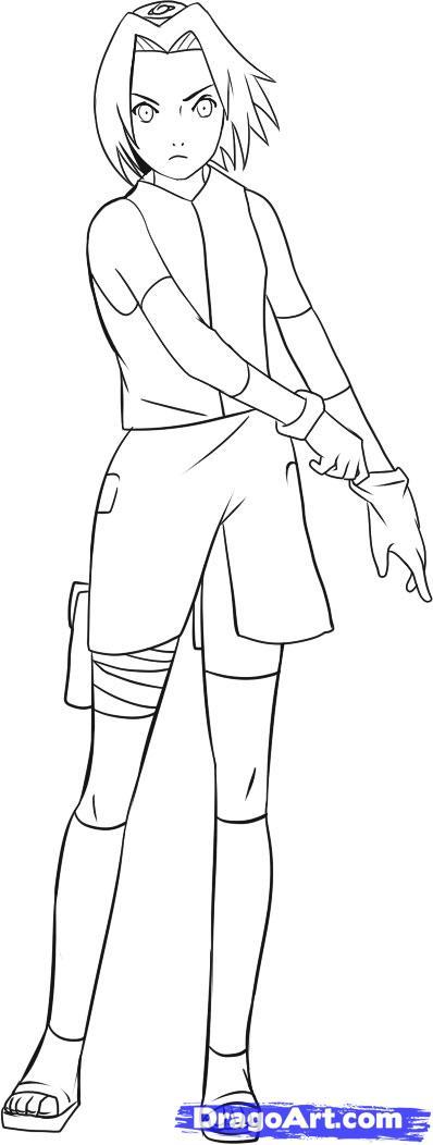 Drawn naruto full body Sakura sakura shippuden  Draw