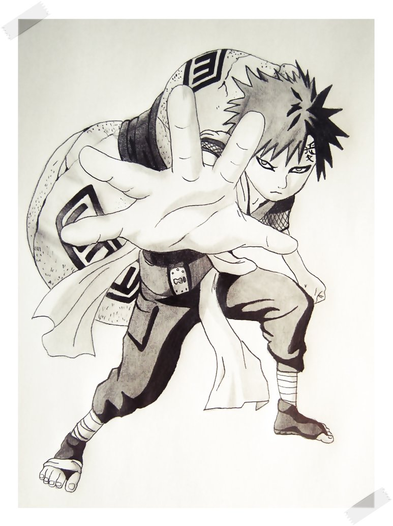 Drawn naruto gaara By on by Gaara DeviantArt