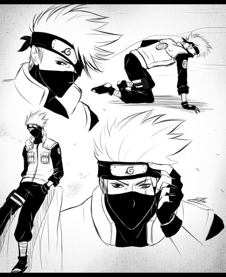 Drawn naruto kakashi sensei Portrait Fighting Hatake Cubur Kakashi