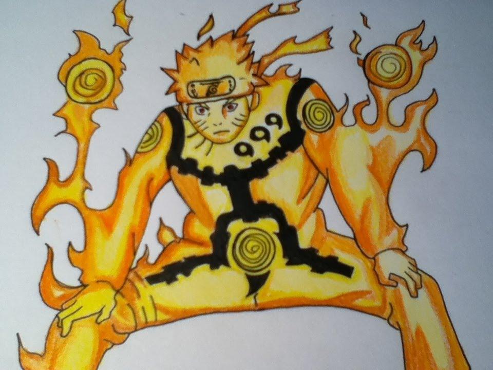 Drawn naruto naruto kyuubi Mode Let's draw draw YouTube