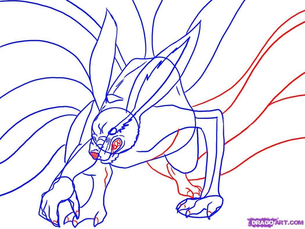 Drawn naruto nine tailed 4 nine Step by draw