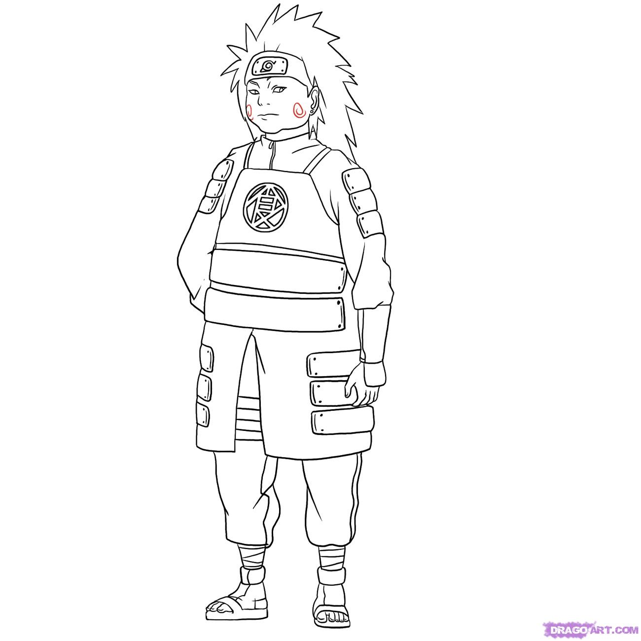 Drawn naruto outline Draw Naruto Characters to how