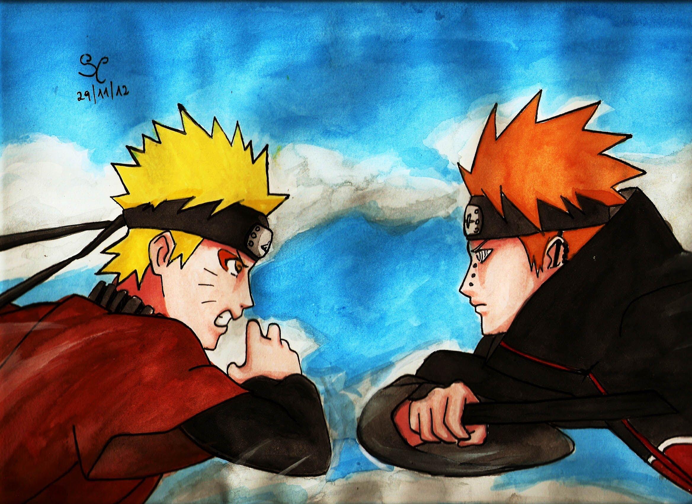 Drawn naruto pain drawing To draw Pain Naruto vs