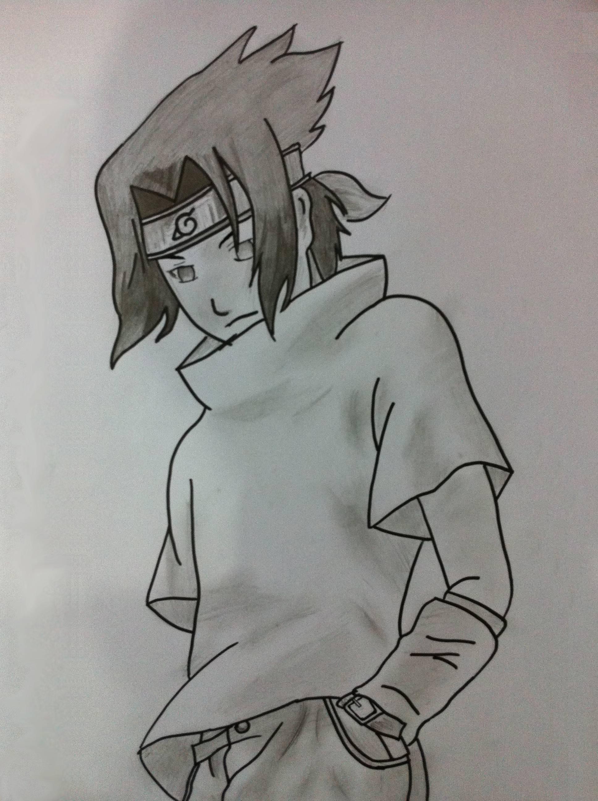 Drawn naruto sasuke  Sasuke Fanart (: Drawing