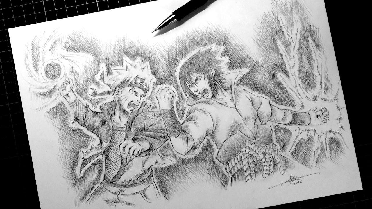 Drawn naruto sasuke Sketch Speed Drawing Battle Final