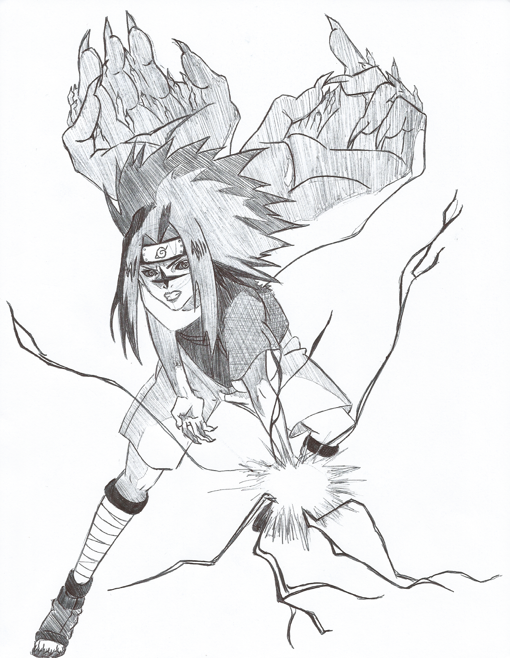 Drawn naruto sasuke chidori drawing Mark DeviantArt 2  Level