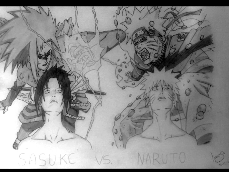 Drawn naruto sasuki Naruto Sasuke Vs  Draw
