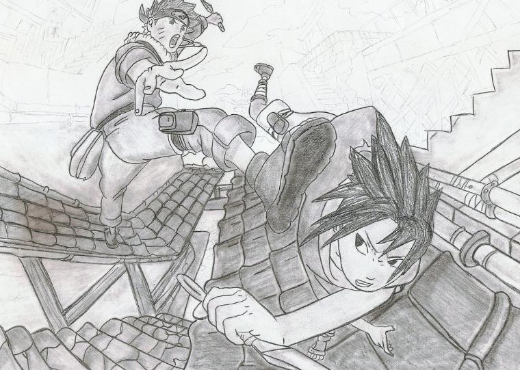 Drawn naruto sasuki Vs by Drawing Sasuke Drawing