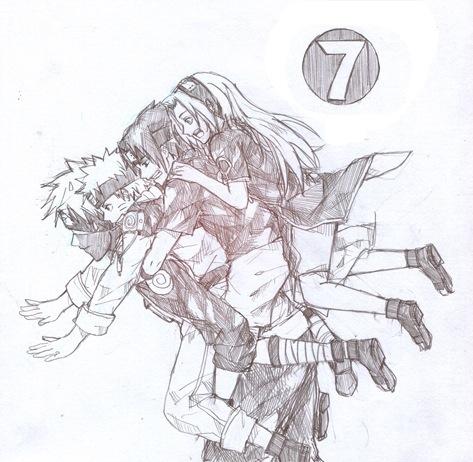 Drawn naruto team 7 Is Kakashi face Team Naruto
