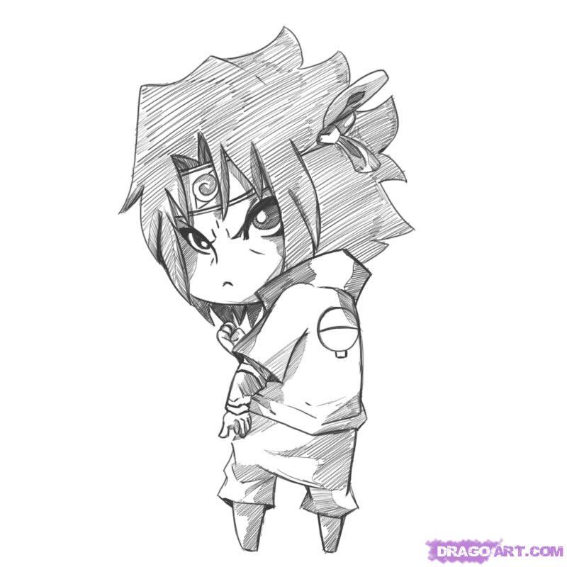 Drawn pice sasuke Anime naruto Step to by