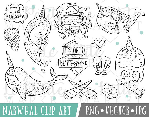 Narwhal clipart magical LePetiteMarket Magical Narwhal Clipart Magical