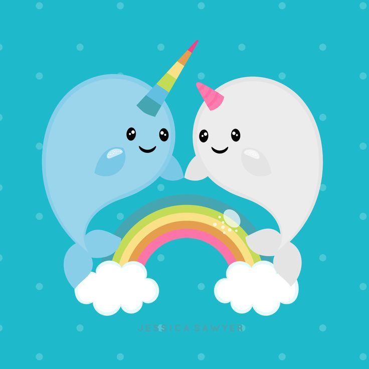 Narwhal clipart chibi 20+ on Rainbow of