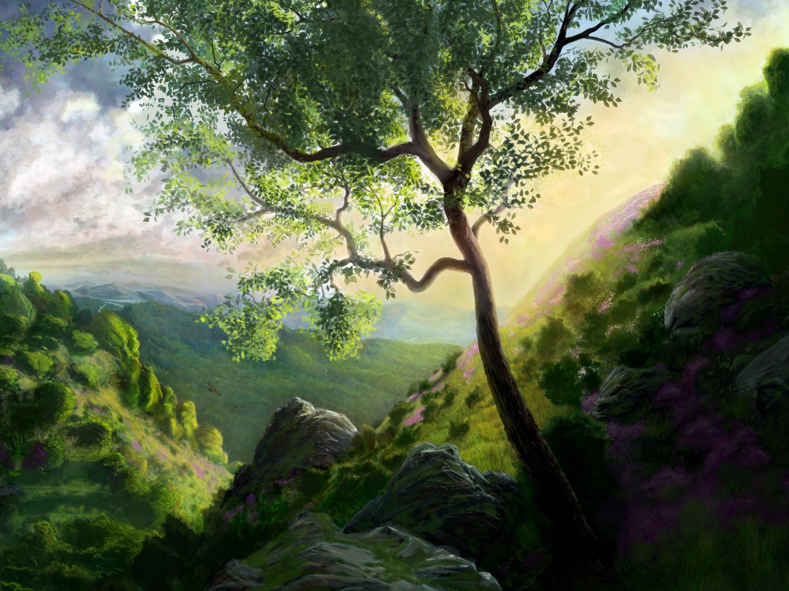 Drawn background desktop Artwork background nature artwork widescreen